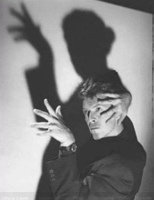 David Bowie playing with light and shadow and making an homage to Margaret Hamilton, a.k.a. the Wicked Witch of the West.