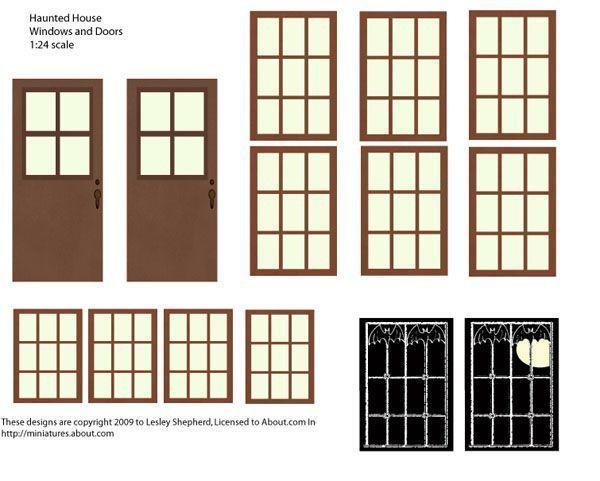 Версия для печати двери и окна для миниатюрные дома с привидениями и силуэты.
