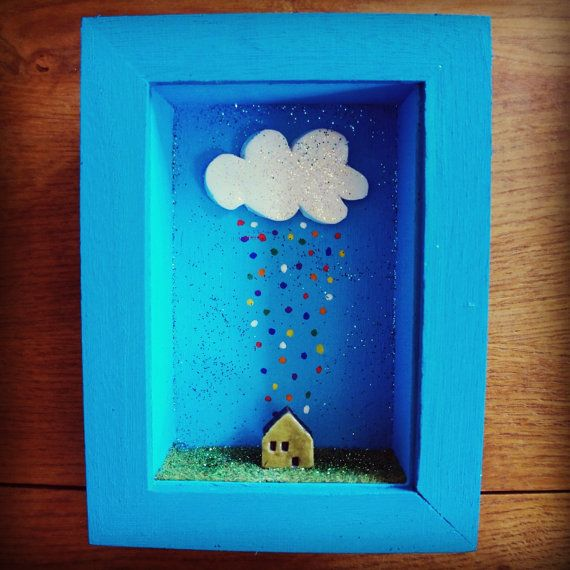 Diorama little house under the rainbow rain by MoonAndWoodShop, €28.00