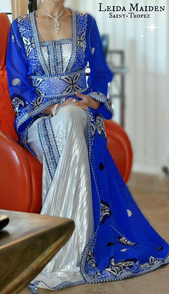 Royal blue Long Sleeved Caftan Maxi Dress robe par LeidaMaiden