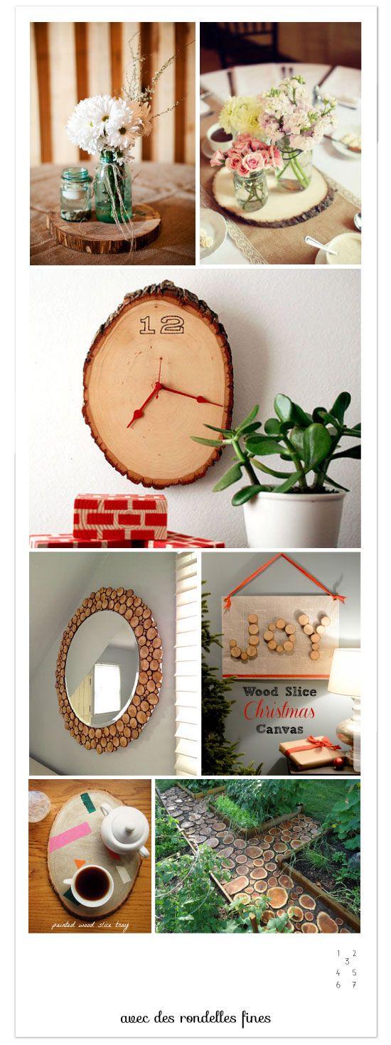 DIY avec une bille de bois, des rondins et des rondelles