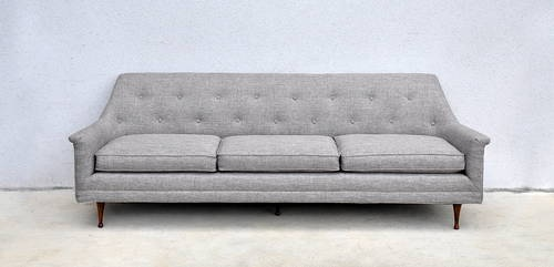 1960s Mid-Century Danish Modern Grey Sofa Couch Newly Reupholstered