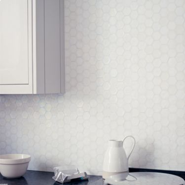White Hexagons - Iridescent Glass Mosaic...a stunning new addition to our existing range of glass mosaics.