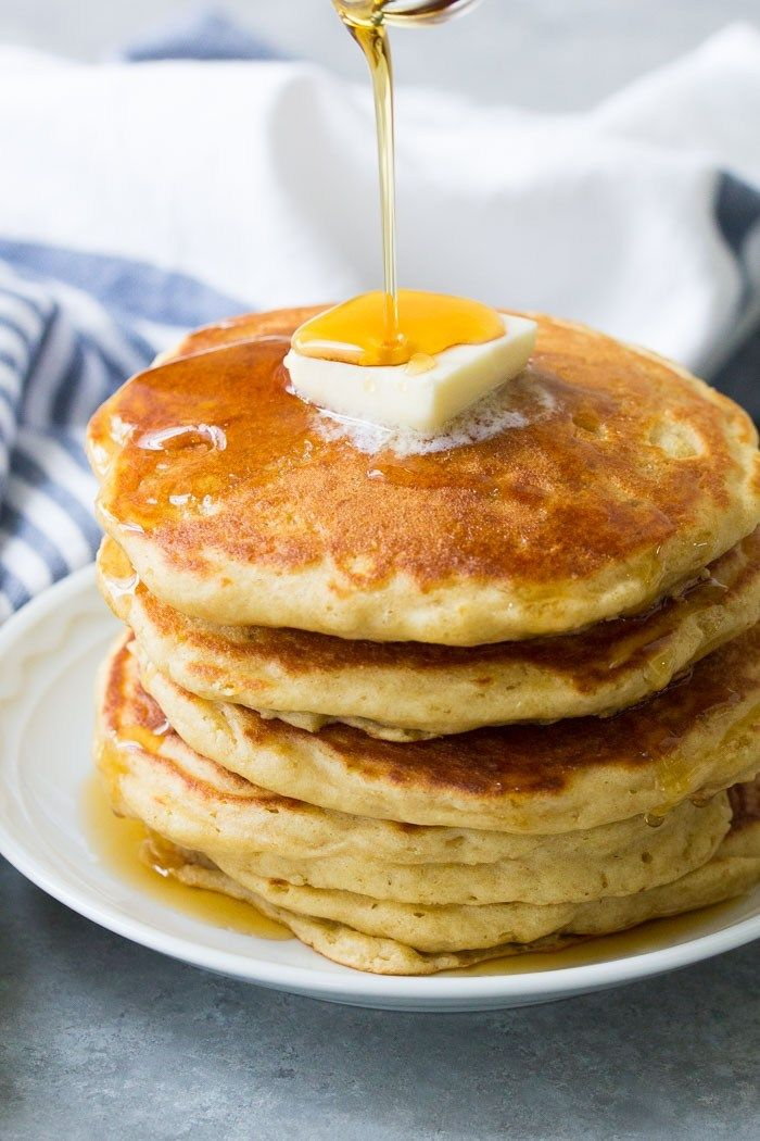 These Buttermilk Pancakes Are Thick And Fluffy With Delicious Flavor From The But Pancake Recipe Buttermilk Homemade Pancake Recipe Buttermilk Pancakes Fluffy