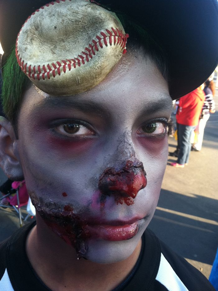 zombie baseball player halloween 2012 makeup ideas