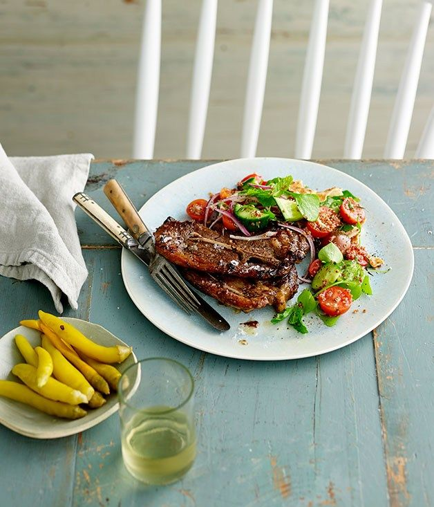 SUMAC AND MINT-GRILLED LAMB CHOPS WITH QUINOA FATTOUSH