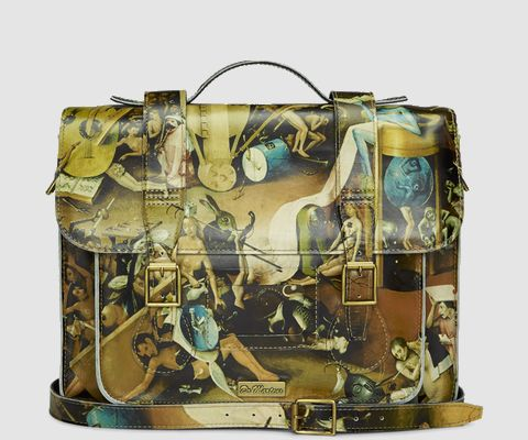 "Bosch's Hell scene from the Garden of Earthly Delights, 15"" Leather satchel 