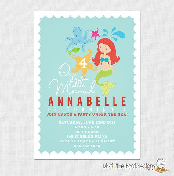 Mermaid Invitation  The Little Mermaid by whatthehootdesigns, $8.00