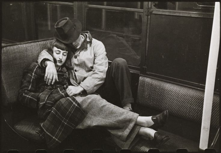 Cuddling sleeping couple on train in New York 1950's how cute x ...