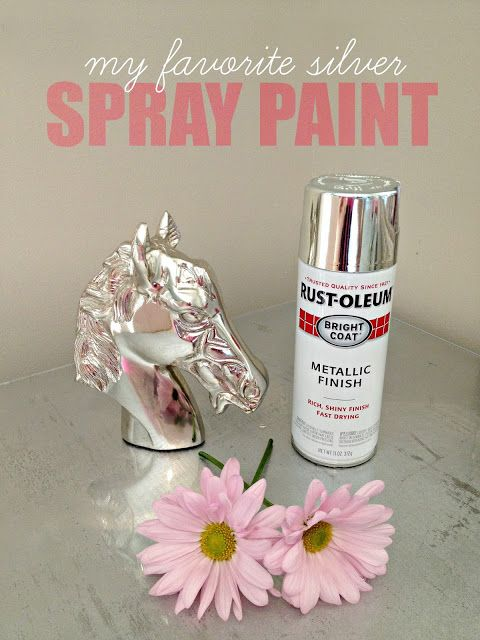 Her favorite silver spray paint.  DIY Silver Leaf Vanity: how to silver leaf a piece of furniture   LiveLoveDIY