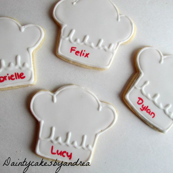 12 chef hat cookies, perfect for a little chef or cooking party! Also good for a culinary student or grad! Can be customized with names as