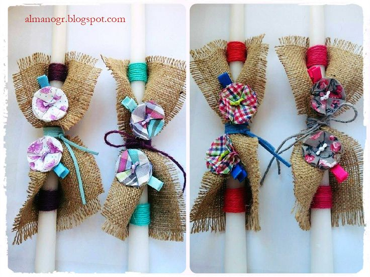 Easter candles with handmade fabric flowers hairclips