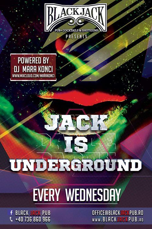Incepem o noua serie de petreceri marca Black Jack Pub, iar tu esti invitat!  Hai miercuri, 15 octombrie incepand cu ora 22, sa incingem atmosfera la prima petrecere din seria JACK in UNDERGROUND!  Am pregatit pentru tine toate ingredintele unui party reusit:  - ne canta si ne incanta Dj Mara Konci - http://www.mixcloud.com/marakonci/  - bauturi la preturi speciale! *any long drink - 10 lei *any shot - 8 lei  Pentru informatii si rezervari: 0736 860 966