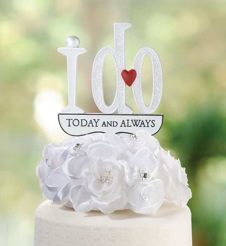 "This fun ""I Do"" cake topper makes the perfect finishing touch on the wedding cake. Decorative grooves on the word ""do"", a small red heart and the words ""today and always"" on the bottom make it perfect"