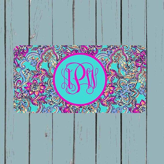 Monogram License Plate Lily Pulitzer Inspired by CASESJUSTFORYOU