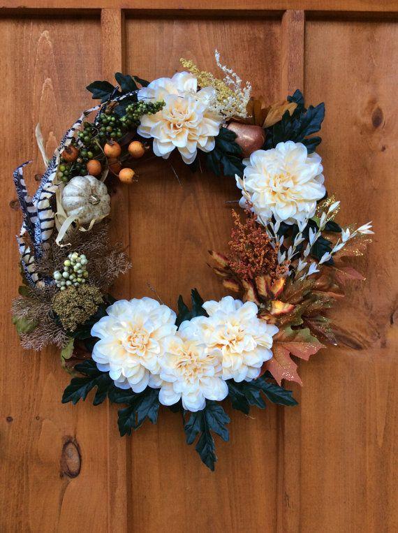 Dahlia Wreath, Door Decor, Artificial Silk Flower Wreath, Front Door Grapevine Wreath, Autumn/Fall Wreath, Wall Decor, Made in Canada