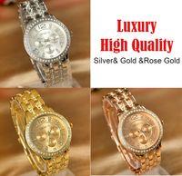 Oro Cuarzo Reloj de Ginebra CZ Diamond Digital Women vestido reloj de plata de color hombres de los relojes marca de lujo de Ginebra del reloj