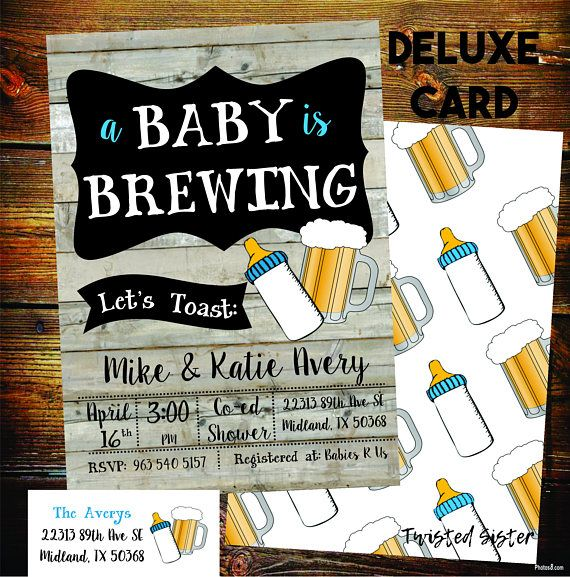 This rustic yet modern and retro Baby is Brewing Invitation is the perfect invite for your Co Ed Baby Shower or Beer and BabyQ party. This wording and colors on this beer baby shower invite can be customized too for any type of Baby Shower: Gender Neutral Baby Shower, Couples Baby