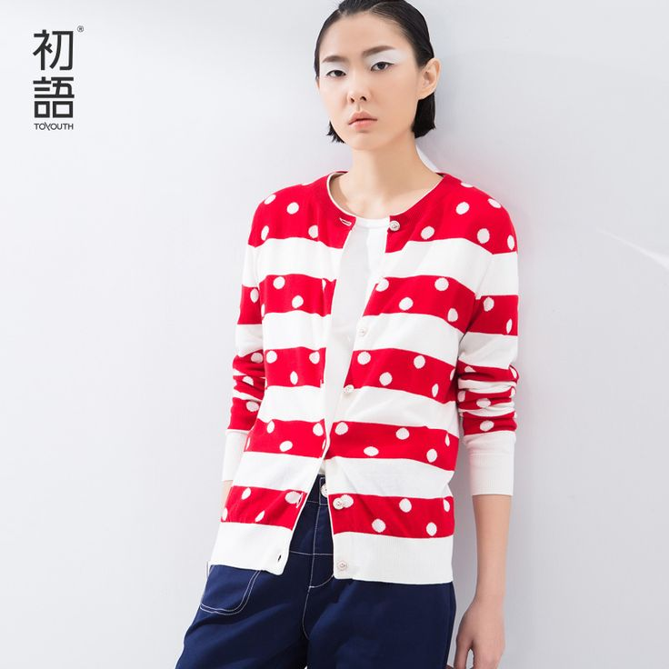 Toyouth Spring Autumn New  Zip Up V-Neck Fashion Long Sleeve Cotton Full Polka Dot Sweatshirts Casual Women Hoodies Tops