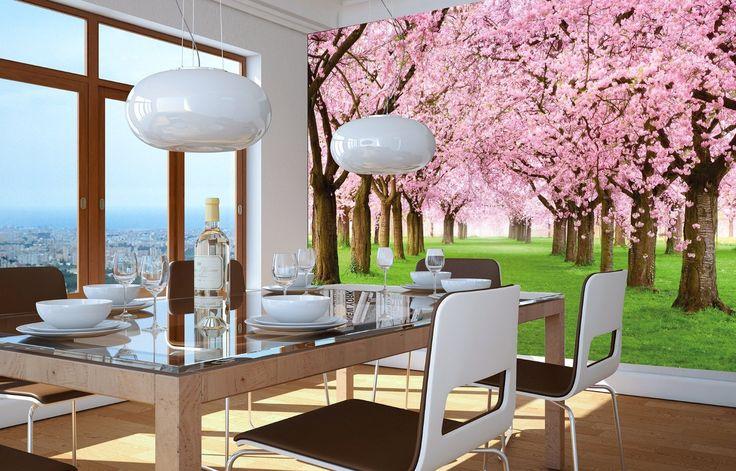 Albero di ciliegio FOTOMURALE - bosco con alberi di ciliegio - primavera rosa carta da parati quadro - alberi bosco decorazione da parete by Great Art 140 cm x 100 cm: Amazon.it: Fai da te