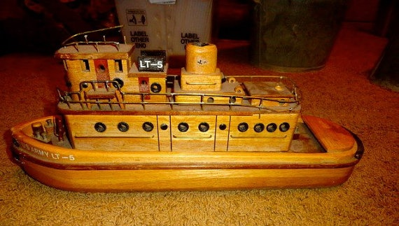tug boat model vintage, all wood and brass, | TUG BOATS ...
