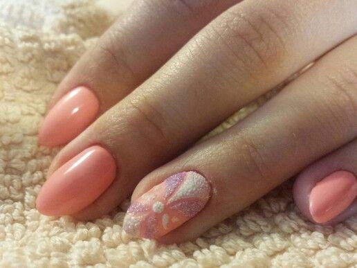 #hybryd nails #semilac #nail art #szmaragdowy effect #mermaid effect #pastel peach