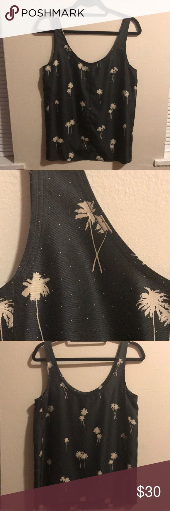 Rag & bone palm tree print silk tank Never worn (tags removed and dry cleaned) 100% silk tank from rag & bone. Color is a dark navy/gray, palm trees are beige. Love this but wearing with my palm tree tattoo is a bit much! rag & bone Tops Tank Tops