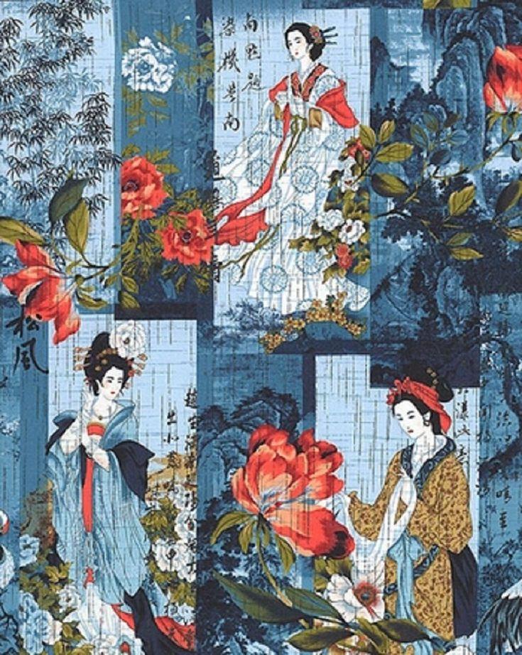 Fabric #2523 Geisha Cranes Foliage on Blue Kona Bay Sold by 1//2 Yard See Descrip