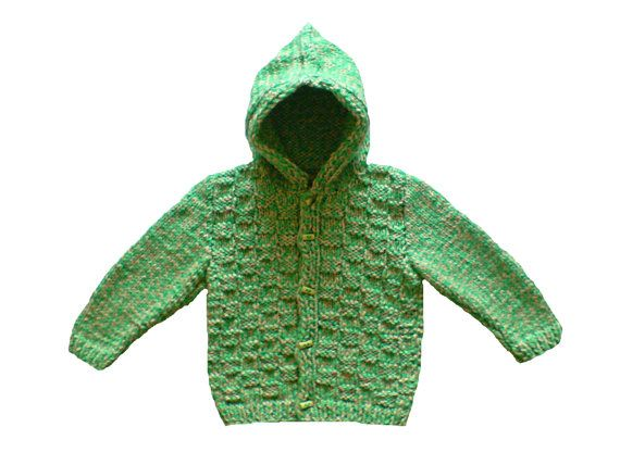 Handknit baby hoodie baby cardigan with hood in green by woolopia, $27.00