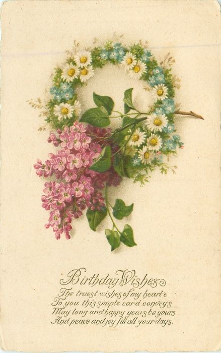 Daisy and forget-me-not wreath with lilac.  Birthday message.
