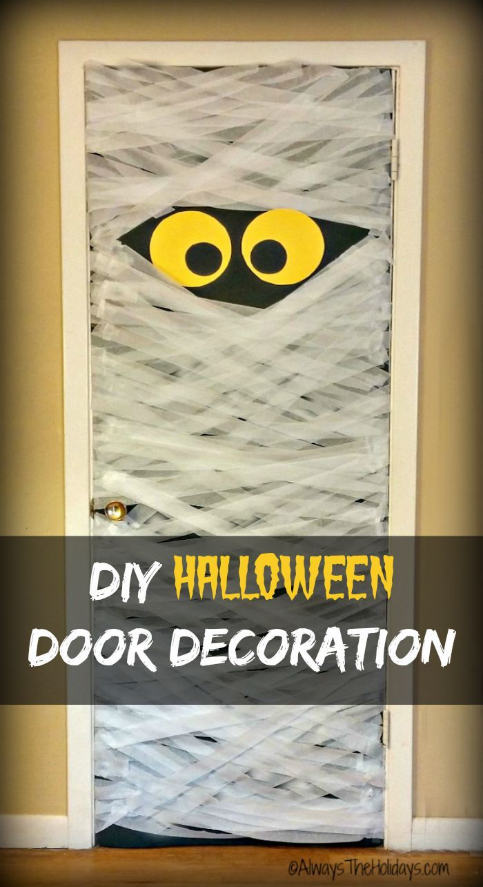 this diy mummy door decoration will delight your trick or treat visitors makes a great - Halloween Door Decorating Ideas