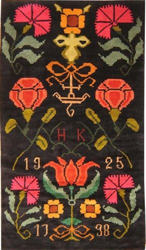 Finnish rya rug woven in 1925. Classic 18th-century folk art design; 1798 is most likely the date of its archetype. This was probably a wedding rug; the H and K likely represent a bride and groom.