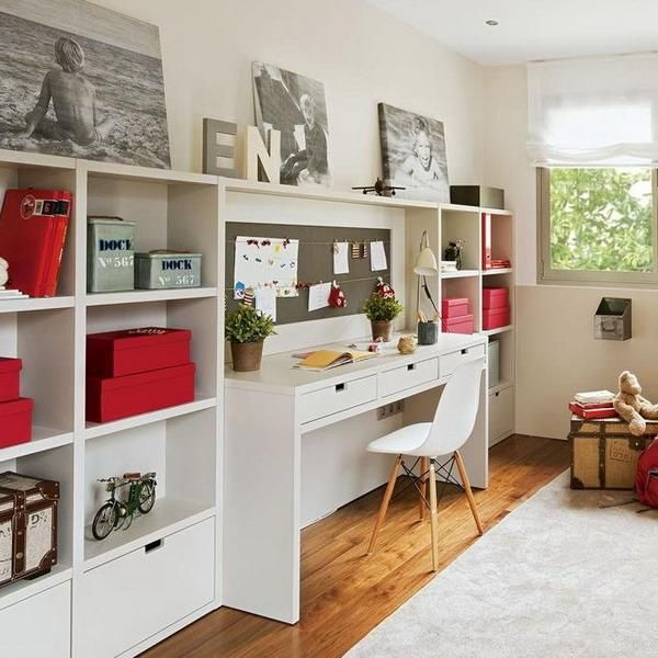 Student desk design and decorating are important elements of comfortable kids rooms with efficient and ergonomic studying areas