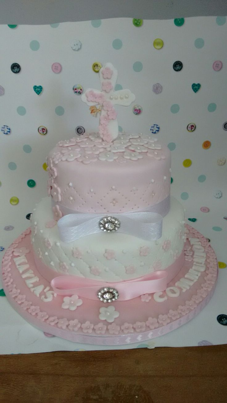 Love this one made two tier communion. Pretty in pink
