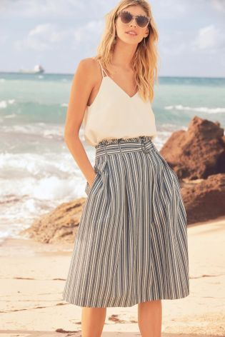 Buy Navy/White Stripe Paper Bag Skirt online today at Next: Israel