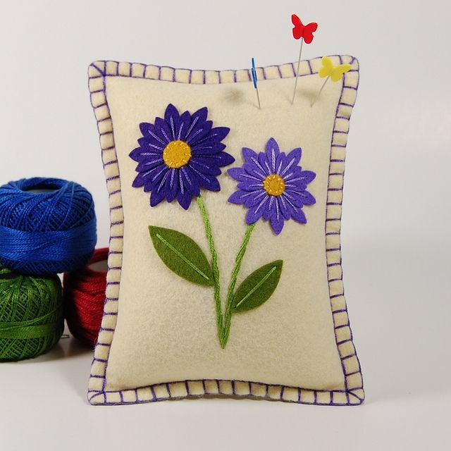 Two Purple Daisies - Wool Felt Pincushion or Small Pillow by TheBlueDaisy, via Flickr