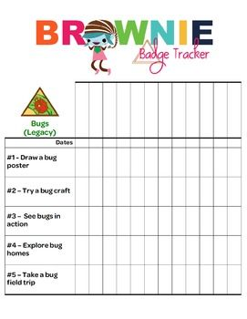 This Brownie Tracker is in PDF format to make it easier to work with.  You simply have to write in the names of the girls. If you are looking for a digital copy to format, download the separate Word document. This tracker allows troop leaders to document badge requirements for each girl.