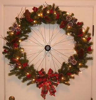 Wheeth....wreath made out of a bicycle wheel