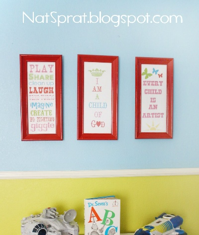 """Toy Room Printables  """"I am a child of God""""  """"Every child is an artist"""""""