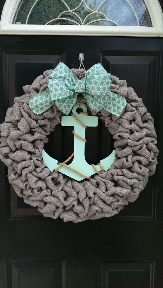 Hey, I found this really awesome Etsy listing at https://www.etsy.com/listing/234091304/grey-and-mint-anchor-wreath-nautical