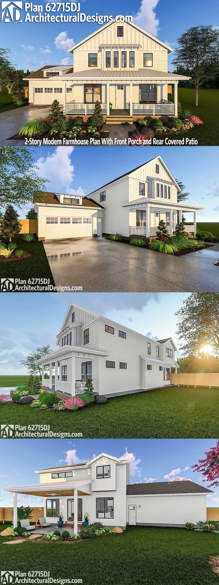 Architectural Designs Modern Farmhouse House Plan 62715DJ Gives You Over  3,100 Square Feet Of Heated Living