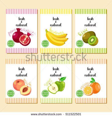 Fruit banner collection. Summer fruit banner set. Vector illustration