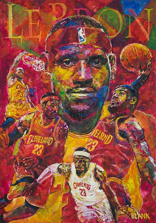 """Original Oil Painting 28""""x40"""" gallery-wrapped. Tribute to LeBron James, All-Star and World Champion."""