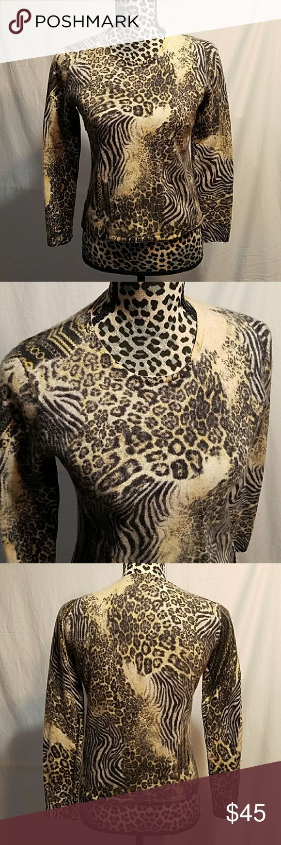"🦇🎃Neimun Marcus Cashmere 100% cashmere Animal Print. In good condition Women's size XL Bust 17"" Waist 16"" Sleeve length 22"" Total lenght 21""  Price is Firm Neiman Marcus Tops"