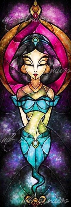 Alladdin's Princess Jasmine stained glass artwork via www.Facebook.com/DisneylandForMisfits