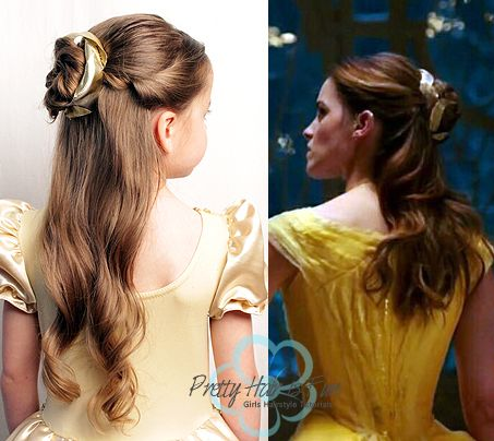 Pretty Hair is Fun: Belle {Emma Watson} Ballroom and Library Hairstyles from Beauty and the Beast
