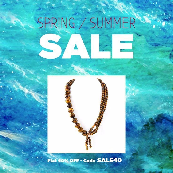 20 Inches Long Golden Tiger Eye Necklace Natural Round Beads   #gemstone #strand #necklace #beaded #beads #gemsmore #shubhamjewels
