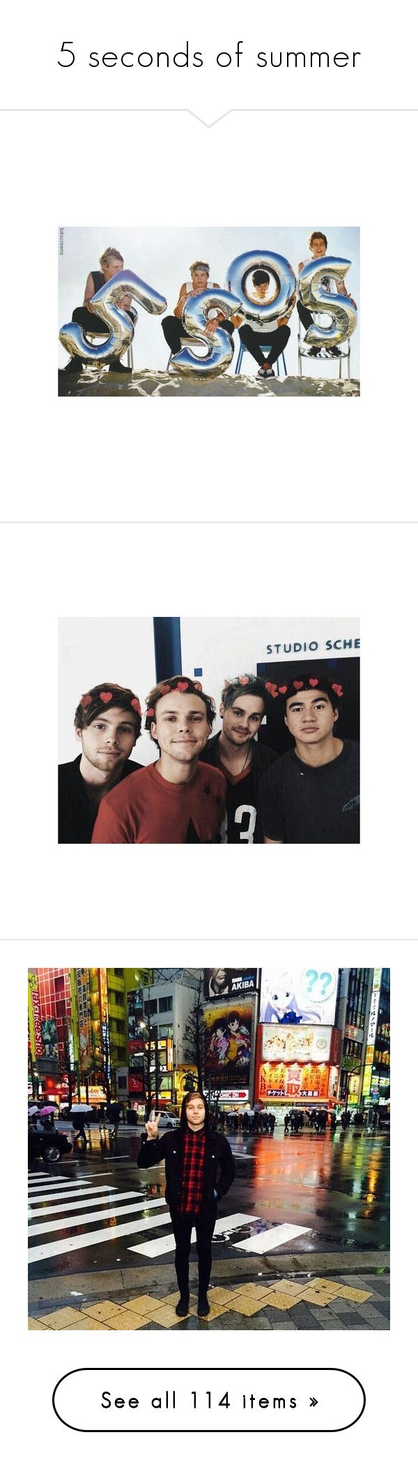 """5 seconds of summer"" by hello-crazy ❤ liked on Polyvore featuring pictures, tops, pics, blue top, heart tops, 5sos, luke, luke hemmings, ashton irwin and ashton"