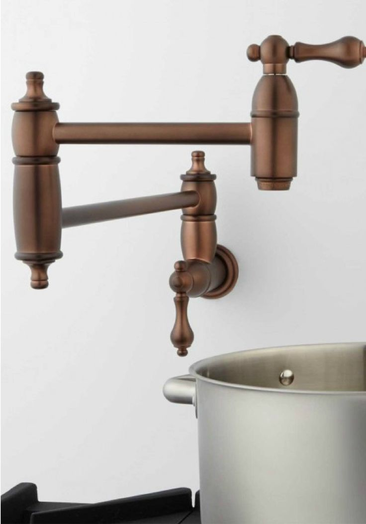 Skip the sink and easily fill up your pots over your stove with this copper wall-mount faucet from Signature Hardware. Add this hardware while you remodel any style of kitchen.