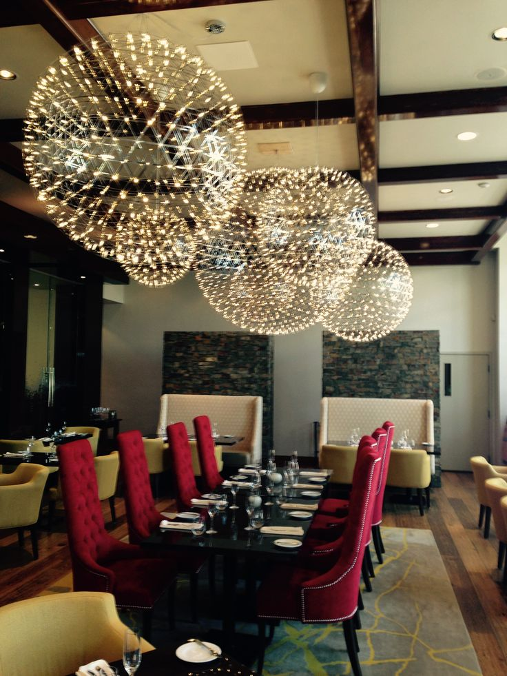 Spectacular lighting installation at the Trius Vineyards in Niagara-on-the-Lake Moooi Raimond chandeliers